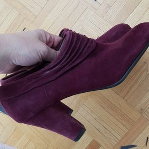 Purple suede booty shoes